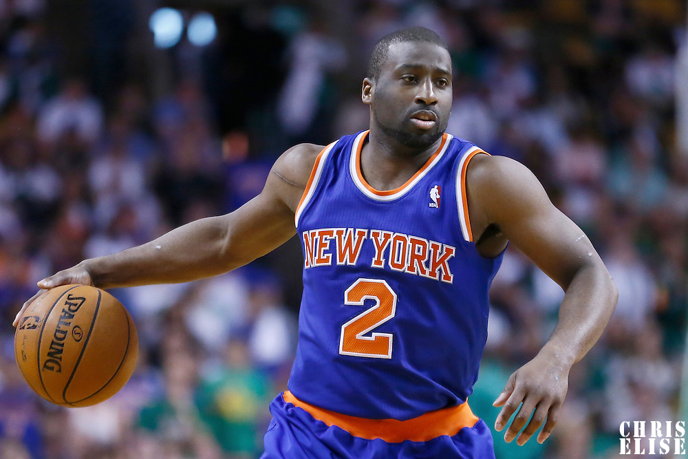 28 April 2013:New York Knicks point guard Raymond Felton (2) dribbles during Boston Celtics 97-90 overtime victory over the New York Knicks during Game Four of the Eastern Conference Quarterfinals of the 2013 NBA Playoffs at the TD Garden, Boston, Massachusetts, USA.