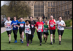 April 17, 2018 - London, London, United Kingdom - Image licensed to i-Images Picture Agency. 17/04/2018. London, United Kingdom. UK MP's warming up in Westminster as they get ready to take part in this year's London Marathon on Sunday. (Credit Image: © Stephen Lock/i-Images via ZUMA Press)