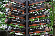 Singapore Zoo. Signpost to different animals.