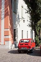 red fiat on Ulica Kanonicza street in Krakow Poland