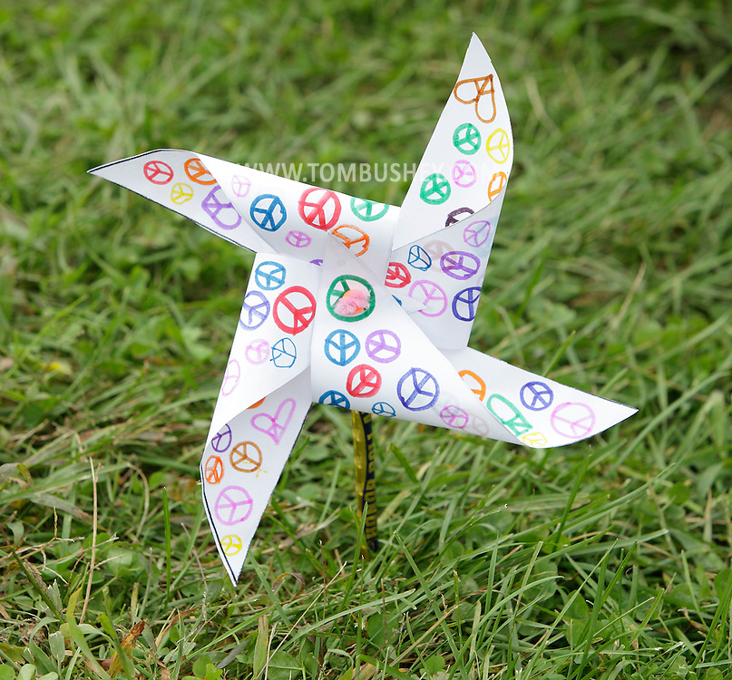 A student from Hamilton Bicentennial Elementary School in Cuddebackville made this pinwheel as part of the Pinwheels for Peace Project on Friday, Sept. 21, 2012.