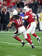 Arizona Cardinals wide receiver Larry Fitzgerald (11) catches an overtime pass from Arizona Cardinals quarterback Carson Palmer (3) and runs it into the end zone for the winning touchdown during the NFL NFC Divisional round playoff football game against the Green Bay Packers on Saturday, Jan. 16, 2016 in Glendale, Ariz. The Cardinals won the game in overtime 26-20. (©Paul Anthony Spinelli)