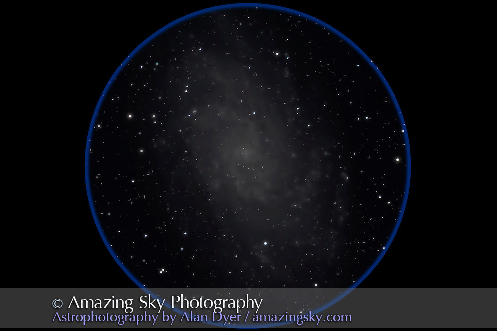 M33, the Triangulum Spiral, a dwarf spiral in the Local Group. This is a 6-image stack of 12-minute exposures with the Canon 7D at ISO 800 on the 130mm Astro-Physics apo refractor at f/6 on AP 600E mount and SBIG SG4 autoguider. Poor seeing bloated star images somewhat.