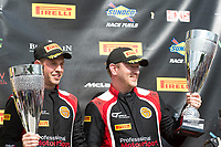 Graham Johnson (GBR) / Mike Robinson (GBR)  #50 PMW Expo Racing/Optimum Motorsport  Ginetta G55 GT3  Ford Cyclone 3.7L V6  on the podium in tfirst place in GT4 class of race two for the British GT Championship at Oulton Park, Little Budworth, Cheshire, United Kingdom. May 30 2016. World Copyright Peter Taylor/PSP.