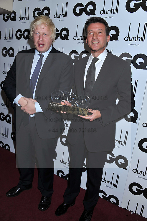 Mayor of London BORIS JOHNSON and Winner of the Man of Next Year Award LORD COE at the GQ Men of the Year 2011 Awards dinner held at The Royal Opera House, Covent Garden, London on 6th September 2011.