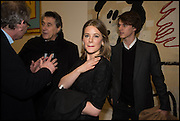 BRIAN FERRY, TARA FERRY AND TARKA RUSSELL at the Private view for A Strong Sweet Smell of Incense<br /> A Portrait of Robert Fraser, Curated by Brian Clarke. Pace Gallery. 6 Burlington Gardens. London. 5 February 2015.