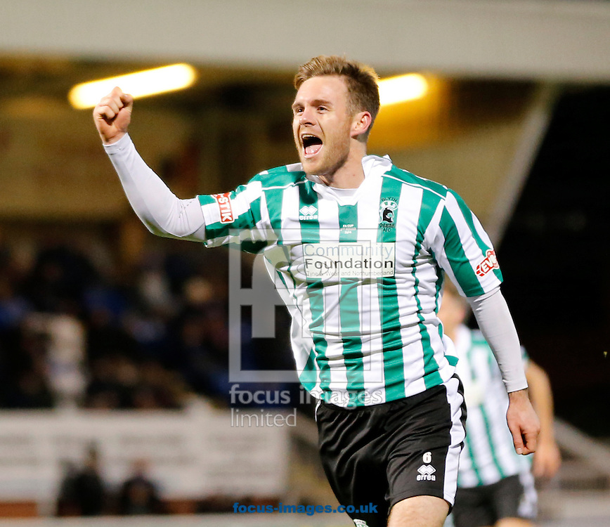 Stephen Turnbull of Blyth Spartans celebrates equalizing  during the The FA Cup match at Victoria Park, Hartlepool<br /> Picture by Simon Moore/Focus Images Ltd 07807 671782<br /> 05/12/2014