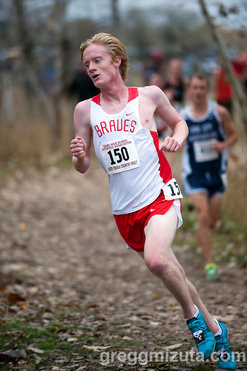Boise senior Matt Sewall on the final turn to the straightaway during the Idaho High School Cross Country State Championships 5A race, November 1, 2014 at Eagle Island State Park, Eagle, Idaho. Sewall finished sixth with a time of 15:55.7.