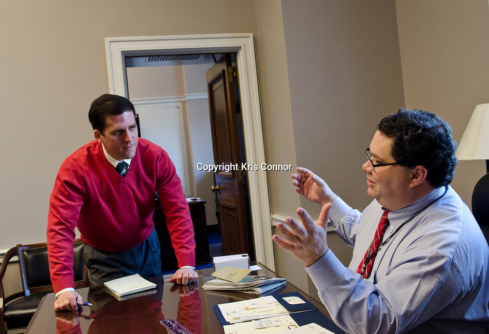 Representative Blake Farenthold(R-TX) speaks with his Chief of Staff David Lasseter in his new office as him and his staff move into 2110 Rayburn House Office Building on Capitol Hill in Washington DC on January 3, 2010. Photo  by Kris Connor