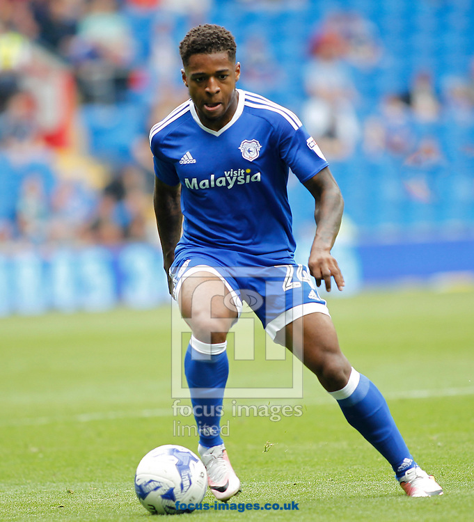 Kadeem Harris of Cardiff City during the Sky Bet Championship match at the Cardiff City Stadium, Cardiff<br /> Picture by Mike Griffiths/Focus Images Ltd +44 7766 223933<br /> 27/08/2016