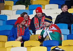 KIEV, UKRAINE - Easter Monday, March 28, 2016: Wales supporters during the International Friendly match against Ukraine at the NSK Olimpiyskyi Stadium. (Pic by David Rawcliffe/Propaganda)
