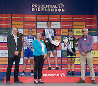 LONDON UK 30TH JULY 2016:   Presentation ceremony Kirsten Wild Hitec Products, Nina Kessler Lensworld Zannata, Leah Kirchmann Team Liv Plantur. The Prudential RideLondon Classique elite womens' race. Prudential RideLondon in London 30th July 2016<br /> <br /> Photo: Jon Buckle/Silverhub for Prudential RideLondon<br /> <br /> Prudential RideLondon is the world's greatest festival of cycling, involving 95,000+ cyclists – from Olympic champions to a free family fun ride - riding in events over closed roads in London and Surrey over the weekend of 29th to 31st July 2016. <br /> <br /> See www.PrudentialRideLondon.co.uk for more.<br /> <br /> For further information: media@londonmarathonevents.co.uk