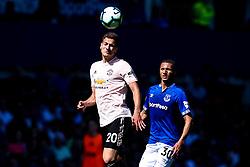 Diogo Dalot of Manchester United beats Richarlison of Everton to a header - Mandatory by-line: Robbie Stephenson/JMP - 21/04/2019 - FOOTBALL - Goodison Park - Liverpool, England - Everton v Manchester United - Premier League