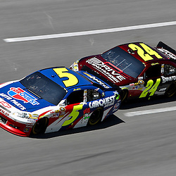 April 17, 2011; Talladega, AL, USA; NASCAR Sprint Cup Series driver Jeff Gordon (24) drafts Mark Martin (5) during the Aarons 499 at Talladega Superspeedway.   Mandatory Credit: Derick E. Hingle