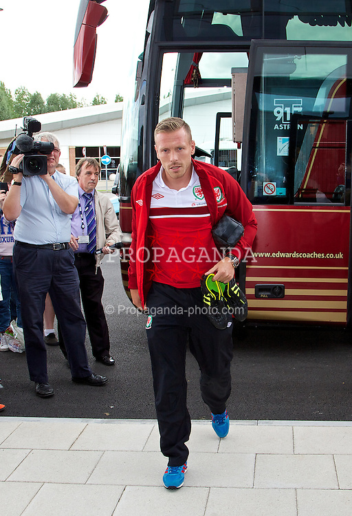 NEWPORT, WALES - Monday, August 12, 2013: Wales' Craig Bellamy arrives for training at the FAW National Development Centre at Dragon Park ahead of the International friendly against the Republic of Ireland. (Pic by David Rawcliffe/Propaganda)