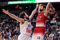 Real Madrid's Sergio Llull and EA7 Emporio Armani Milan's Krunoslav Simon during Turkish Airlines Euroleage match between Real Madrid and EA7 Emporio Armani Milan at Wizink Center in Madrid, Spain. January 27, 2017. (ALTERPHOTOS/BorjaB.Hojas)
