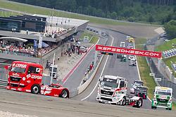 07.07.2013, Red Bull Ring, Spielberg, AUT, Truck Race Trophy, Renntag 2, im Bild Antonio Albacete, (ESP, Equipo Cepsa, #2, 2. Platz), Norbert Kiss, (HUN, Oxxo Energy Truck Race Team, #10, 3. Platz), Jochen Hahn, (GER, Castrol Team Hahn Racing, #1) // during the Truck Race Trophy 2013 at the Red Bull Ring in Spielberg, Austria, 2013/07/07, EXPA Pictures © 2013, PhotoCredit: EXPA/ M.Kuhnke