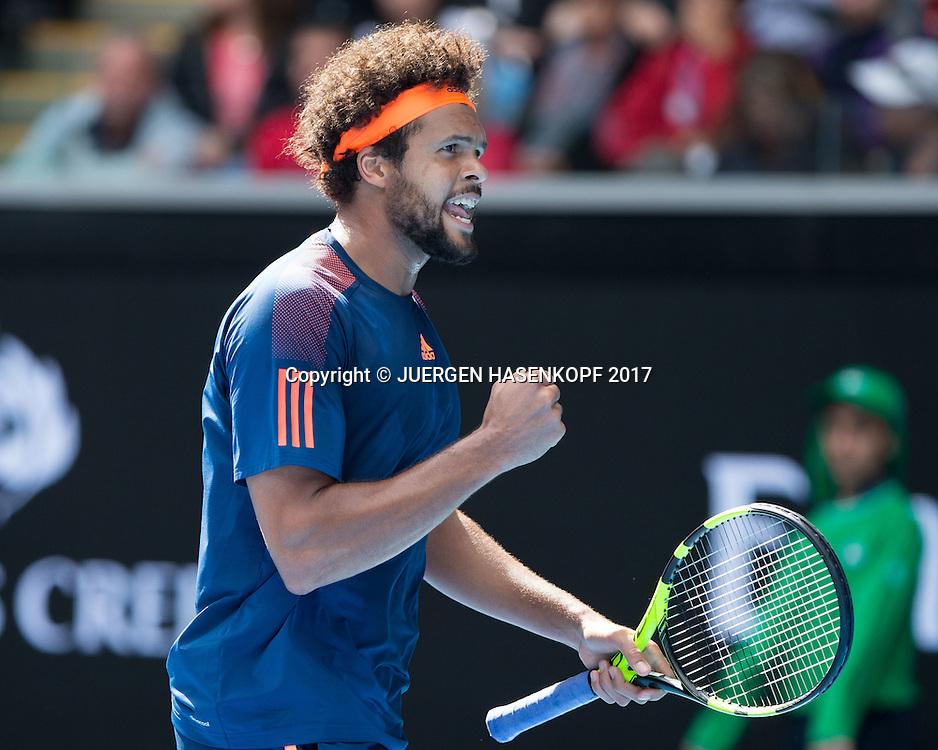 JO-WILFRIED TSONGA (FRA) macht die Faust und jubelt,Jubel,Emotion,<br /> <br /> <br /> Australian Open 2017 -  Melbourne  Park - Melbourne - Victoria - Australia  - 20/01/2017.