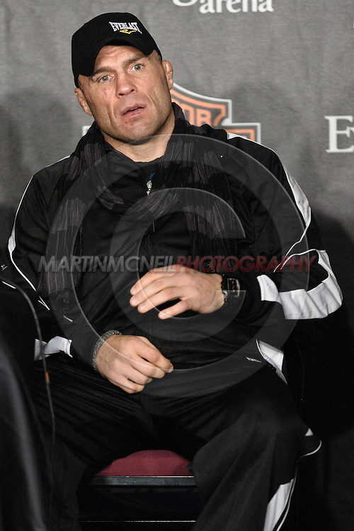 "MANCHESTER, ENGLAND, NOVEMBER 14, 2009: Randy Couture is pictured during the post-fight press conference for ""UFC 105: Couture vs. Vera"" inside the MEN Arena in Manchester, England"