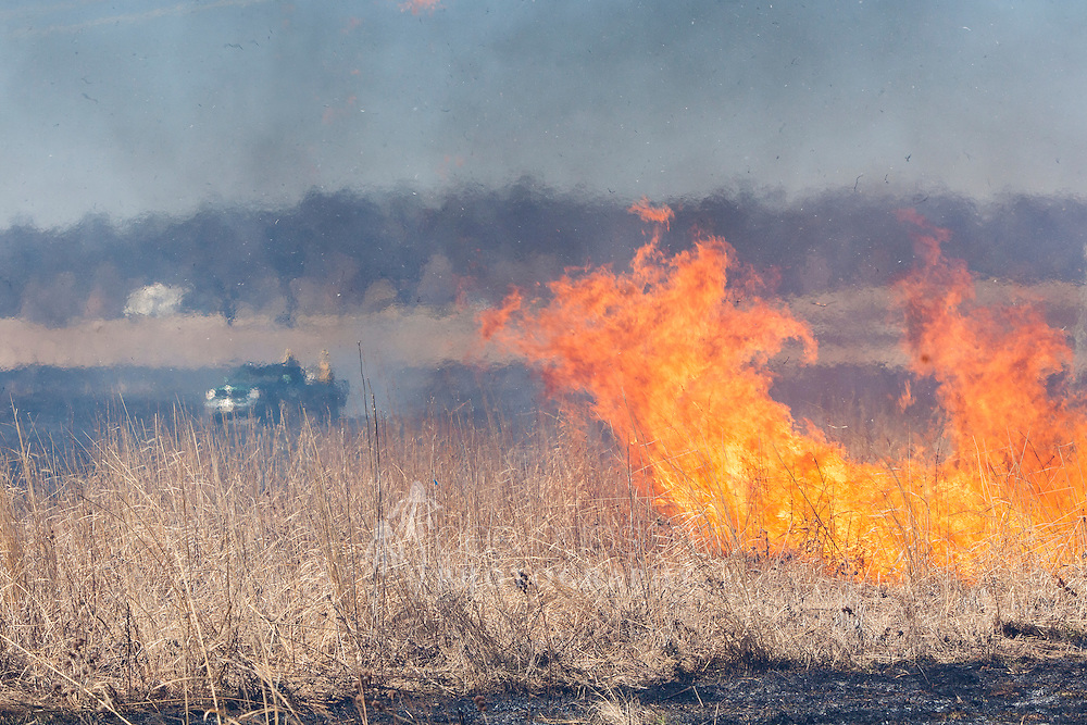 The head fire races on while the truck in the background sits 'in the black' or safe zone.