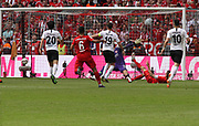 Kevin TRAPP misses, goal 1:0 Kingsley COMAN, shot by Thomas MUELLER. <br /> MUNICH, 18. MAY 2019,  Fc BAYERN vs Eintracht FRANKFURT, 5:1 - Bundesliga Football Match, <br /> FcBayern Muenchen vs Eintracht FRANKFURT Bundesliga match at Allianz Arena on 18.05.2019, DFL REGULATIONS PROHIBIT ANY USE OF PHOTOGRAPHS AS IMAGE SEQUENCES AND/OR QUASI-VIDEO - fee liable image, <br /> copyright &copy; ATP / Arthur THILL