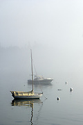 View of sailboat on Southwest Harbor on foggy summer morning, Manset, Maine