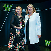 London,England,UK. 11th May 2017. Media Initiative of the Year  winner Eleanor Oldroyd Presented by Jennie Price,CEO Sport England at the Women's Sport Trust Awards - #BeAGameChanger at The Troxy,london, UK. by See Li