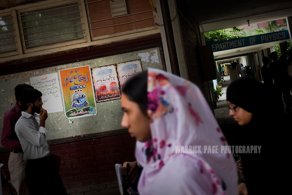 LAHORE, PAKISTAN - JULY 6: Islami Jamiat Talaba posters adorn the hallways of  Punjab University's main campus on July 6, 2011, in Lahore, Pakistan. Islamic groups are using increasing intimidation tactics in universities against progressive liberal youth throughout universities in Pakistan.  (Photo by Warrick Page)