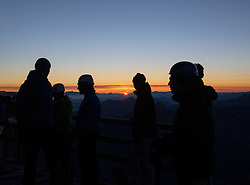 THEMENBILD - Großglockner im Sommer. das Bild wurde am 12. August 2012 aufgenommen. im Bild Bergsteiger bei Sonnenaufgang auf der Erzherzog Johann Hütte, auch Adlersruhe genannt // THEME IMAGE FEATURE - Großglockner at Summer. The image was taken on august, 12, 2012. Picture shows Alpinists at Erzherzog Johann Huette, also called Adlersruhe at sunrise, AUT, EXPA Pictures © 2012, PhotoCredit: EXPA/ M. Gruber