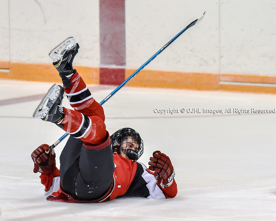 NEWMARKET, ON - SEP 14: Ontario Junior Hockey League game between the Newmarket Hurricanes and the Stouffville Spirit. Stouffville player falls during during the second period.<br /> (Photo by Phillip Sutherland / OJHL Images)