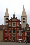 View of St. George's Convent in Prague Castle, Prague, Czech Republic. The castle, first constructed in the 10th century is the seat of government in the Czech Republic.