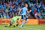 April 29, 2017: Sydney FC defender Jordy BUIJS (5) strikes and scores at Semi Final one of the 2016/17 Hyundai A-League match, between Sydney FC and Perth Glory, played at Allianz Stadium in Sydney.