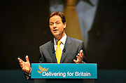 LIVERPOOL. Nick Clegg, leader of The Liberal Democrats and Deputy Prime Minister delivers his leader's speech to  the Liberal Democrat Conference at the ACC arena on Liverpool Waterfront. 20th September 2010.STEPHEN SIMPSON.