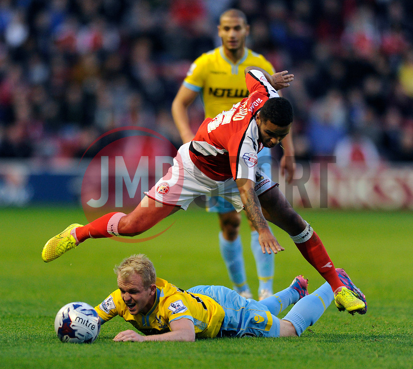 Crystal Palace's Jonathan Williams falls on the floor after a challenge from Walsall's Billy Clifford - Photo mandatory by-line: Dougie Allward/JMP - Mobile: 07966 386802 26/08/2014 - SPORT - FOOTBALL - Walsall - Bescot Stadium - Walsall v Crystal Palace - Capital One Cup