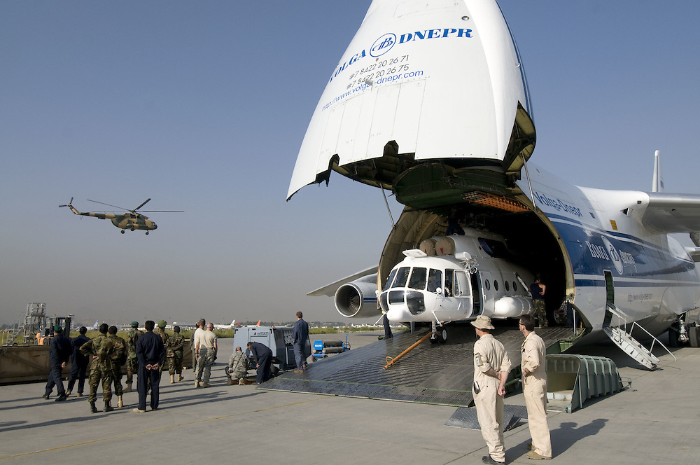 An AN-124 delivers two new Russian built Mi17 helicopters to the Afghan National Army Air Corps (ANAAC) at Kabul International Airport, Kabul, Afghanistan, on September 25, 2009.
