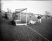 30/01/1953<br /> 01/30/1953<br /> 30 January 1953<br /> Interprovincial Men's Hockey at Londonbridge Road, Dublin. Picture shows Leinster scoring against Ulster.