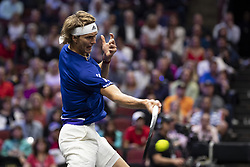 September 22, 2018 - Chicago, Illinois, U.S - Team Europe member ALEXANDER ZVEREV of Germany returns a forehand during the first singles match between Team Europe and Team World on Day Two of the Laver Cup at the United Center in Chicago, Illinois. (Credit Image: © Shelley Lipton/ZUMA Wire)
