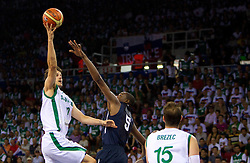 Bostjan Nachbar of Slovenia vs Kevin Durant  of USA during to the Preliminary Round - Group B basketball match between National teams of USA and Slovenia at 2010 FIBA World Championships on August 29, 2010 at Abdi Ipekci Arena in Istanbul, Turkey.  (Photo by Vid Ponikvar / Sportida)