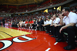 29 December 2011:  Illinois State Redbird bench during an NCAA mens basketball game between the Northern Illinois Panthers and the Illinois State Redbirds in Redbird Arena, Normal IL