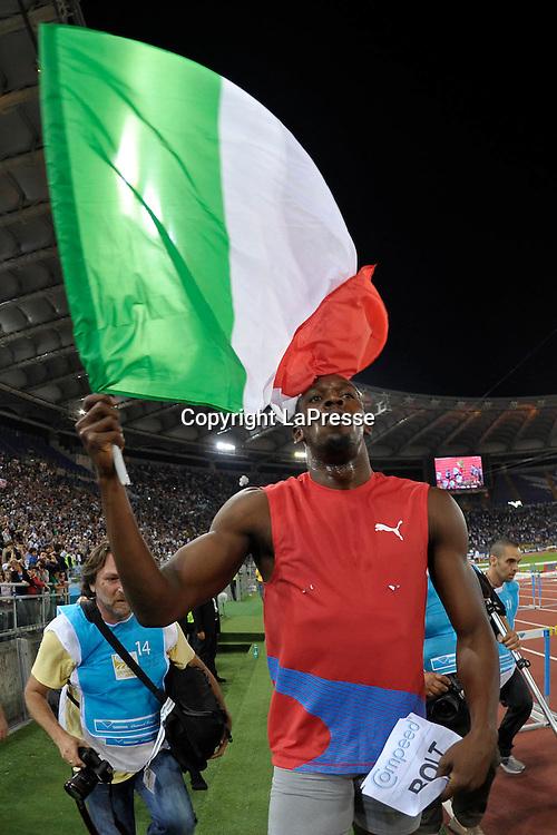 Foto Alfredo Falcone - LaPresse<br /> 31 05 2012 Roma ( Italia )<br /> Sport Atletica<br /> Golden Gala 2012 - Stadio Olimpico di Roma<br /> Nella foto: <br /> Usain Bolt<br /> Photo Alfredo Falcone - LaPresse<br /> 31 05 2012 Rome ( Italy )<br /> Sport Athletics<br /> Golden Gala 2012 - Olimpico Stadium of Roma.<br /> In the pic: Usain Bolt