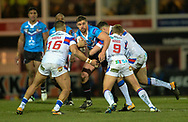Wakefield Trinity defence stops Tyrone McCarthy of Salford Red Devils during the Betfred Super League match at Belle Vue, Wakefield<br /> Picture by Richard Land/Focus Images Ltd +44 7713 507003<br /> 09/02/2018