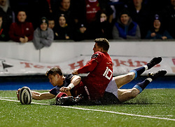 Cardiff Blues' Lloyd Williams scores his sides second try<br /> <br /> Photographer Simon King/Replay Images<br /> <br /> Guinness PRO14 Round 15 - Cardiff Blues v Munster - Saturday 17th February 2018 - Cardiff Arms Park - Cardiff<br /> <br /> World Copyright © Replay Images . All rights reserved. info@replayimages.co.uk - http://replayimages.co.uk