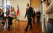 Edinburg, TX - 22 Feb 2008 -.Sen. Barack Obama arrives for a visit with UTPA students prior to his campaign rally on campus Friday morning.