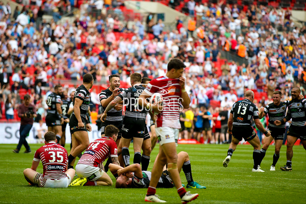 Hull FC celebrate winning during the Ladbrokes Challenge Cup Final 2017 match between Hull RFC and Wigan Warriors at Wembley Stadium, London, England on 26 August 2017. Photo by Simon Davies.