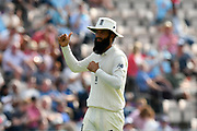 Moeen Ali of England acknowledges the crowd after taking quick wickets while bowling during day two of the fourth SpecSavers International Test Match 2018 match between England and India at the Ageas Bowl, Southampton, United Kingdom on 31 August 2018.