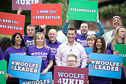 © Licensed to London News Pictures . 26/07/2016 . Manchester , UK . STEVEN WOOLFE MEP poses with supporters following a rally at the Castlefield Rooms in Manchester , where he set out his bid to be the next leader of UKIP , following Nigel Farage's resignation . Woolfe is currently UKIP MEP for North West England and UKIP's Migration and Financial Affairs Spokesman . Photo credit : Joel Goodman/LNP