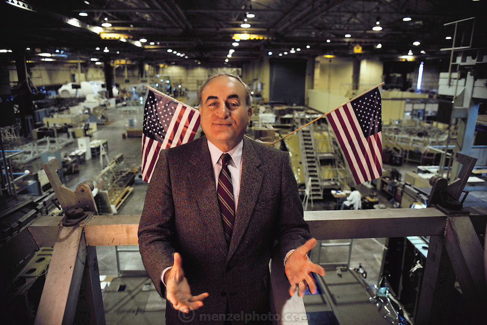 Rockwell Aerospace: manufacturer of airplane and space vehicles. Rockwell operated in Downey, California for seventy years (1929-1999) and produced systems for the Apollo Project as well as the space shuttle. President Rocco Petrone 1986.