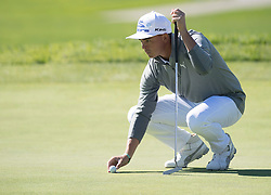 January 27, 2017 - San Diego, Calif, USA - Rickie Fowler lines up a putt during the second day of the Farmers Insurance Open golf tournament at Torrey Pines in San Diego, Calif. on Friday, January 27, 2017. (Photo by Kevin Sullivan, Orange County Register/SCNG) (Credit Image: © Kevin Sullivan/The Orange County Register via ZUMA Wire)