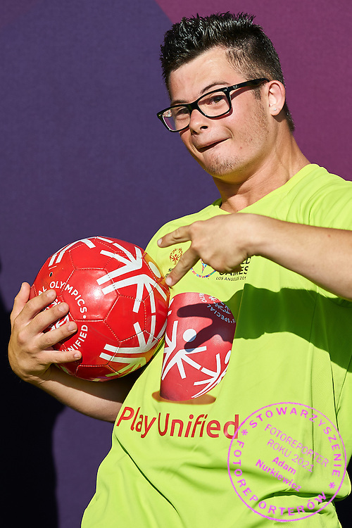 SO athlete celebrates his medal after Unified Sports Experience Football 5-a-side match during fourth day of the Special Olympics World Games Los Angeles 2015 on July 28, 2015 at Intramural Fields UCLA (University of California, Los Angeles) in Los Angeles, USA.<br /> <br /> USA, Los Angeles, July 28, 2015<br /> <br /> Picture also available in RAW (NEF) or TIFF format on special request.<br /> <br /> For editorial use only. Any commercial or promotional use requires permission.<br /> <br /> Adam Nurkiewicz declares that he has no rights to the image of people at the photographs of his authorship.<br /> <br /> Mandatory credit:<br /> Photo by &copy; Adam Nurkiewicz / Mediasport