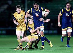 Matt Cox of Worcester Warriors is tackled by Billy Searle of Bristol Rugby - Mandatory by-line: Robbie Stephenson/JMP - 04/11/2016 - RUGBY - Sixways Stadium - Worcester, England - Worcester Warriors v Bristol Rugby - Anglo Welsh Cup